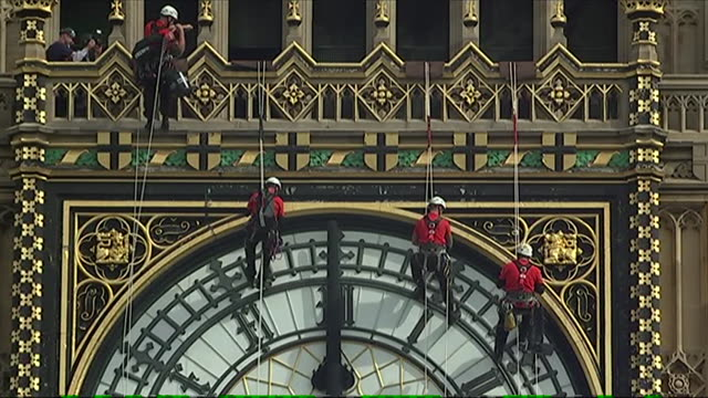 Abseilers embark upon the fourday task of cleaning the clock faces of the Queen Elizabeth Tower Big Ben