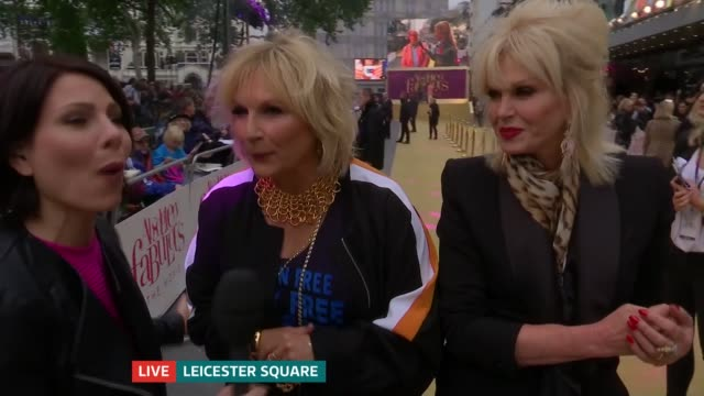 'absolutely fabulous the movie' london premiere england london ext jennifer saunders and joanna lumley live interview outside absolutely fabulous... - jennifer saunders stock videos & royalty-free footage