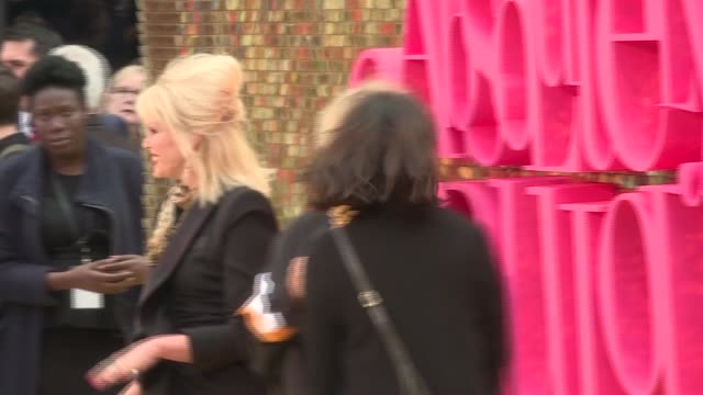 'absolutely fabulous the movie' london premiere red carpet arrivals **music playing intermittently sot** sequined sign ''absolutely fabulous the... - joanna lumley stock videos & royalty-free footage