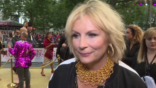 'absolutely fabulous the movie' london premiere red carpet arrivals joanna lumley and jennifer saunders interview sot / - jennifer saunders stock videos & royalty-free footage