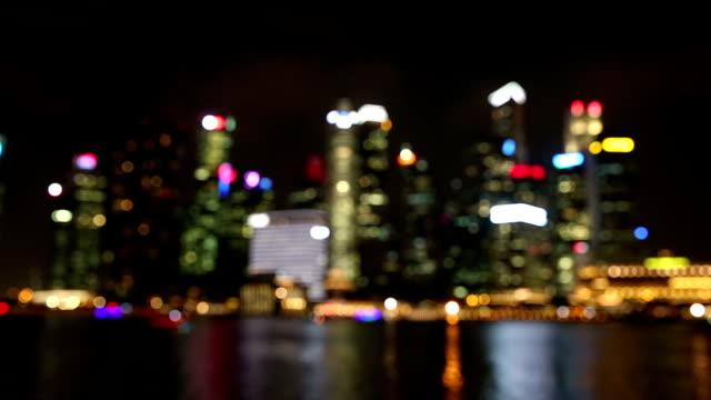 Abstracr unscharf Hintergrund: Singapur Cityscape Night