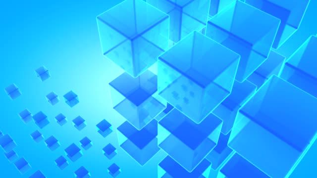 抽象的な 3 d の青い cubes-hd 背景のアニメーション - 立方体点の映像素材/bロール
