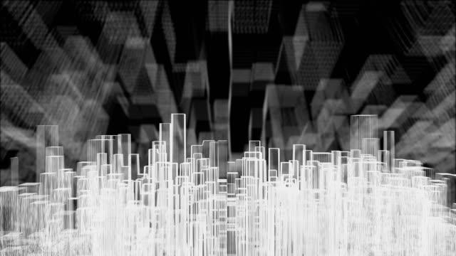 vídeos y material grabado en eventos de stock de resumen cubo 3d wireframe moviéndose arriba y abajo, el concepto de ciudad moderna en blanco - sólido