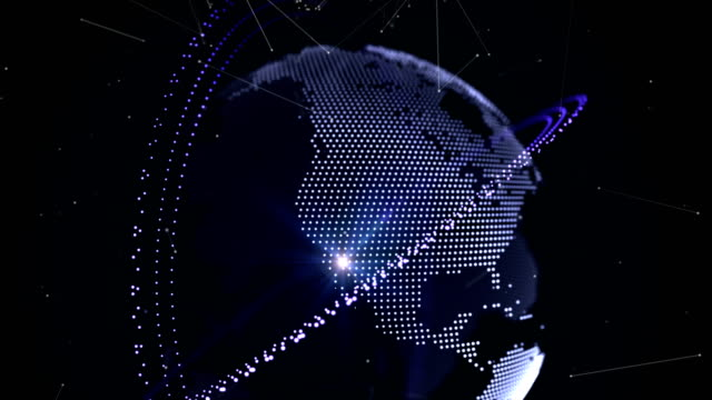 Abstract 3D globe with orbit ring and futuristic network around