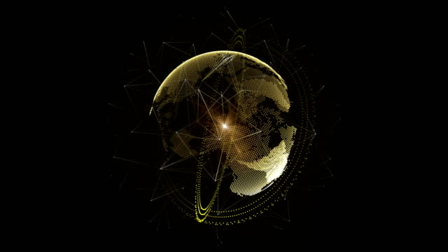 Abstract 3D gold earth with orbit ring and network connection around