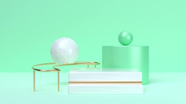 abstract 3d rendering motion graphic soft green white marble geometric shape blank space - rolling stock videos & royalty-free footage