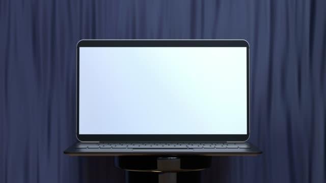 abstrakt 3d rendering rörelse laptop tom skärm - stilleben bildbanksvideor och videomaterial från bakom kulisserna