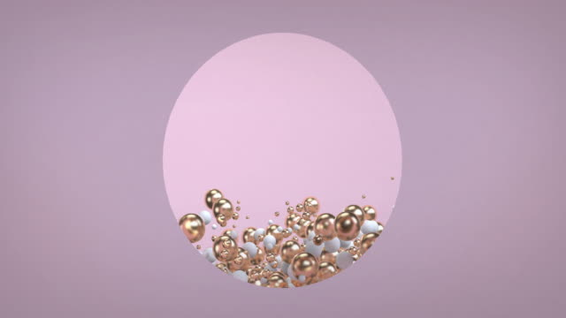 abstract 3d rendering of looped animation pink and gold sphere geometric shapes. motion design, 4k uhd - three dimensional stock videos & royalty-free footage