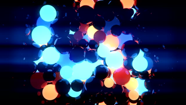 abstract 3d rendering radial transition of orange and blue chaotic motion spheres - bright colour stock videos & royalty-free footage