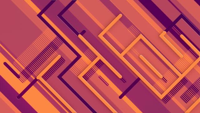 abstrakte 3d-rendering nahtlose loop-animation mit einem wachsenden labyrinth über die bewegung von diagonalen bunten linien für motion-grafik-design. 4k, ultra hd auflösung - parallele geometrie stock-videos und b-roll-filmmaterial