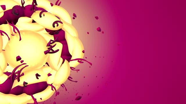 vídeos y material grabado en eventos de stock de abstracto 3d forma girando sobre un fondo de color rosa - diseño natural