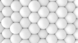 Abstract 3d shapes soft white balls wall animation. 4K looping footage.