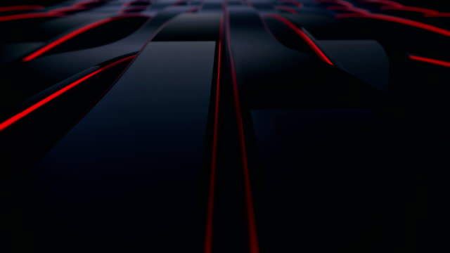 abstract 4k background seamless loop of steel curves and texture with reflection of animated light and environment. waving reflecting light. (loopable) - red stock videos & royalty-free footage