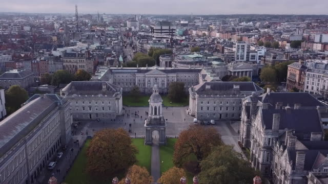 abstract aerial shot of dublin, ireland's trinity college - ireland stock videos & royalty-free footage