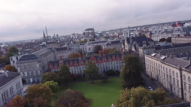 abstract aerial shot of dublin, ireland's trinity college - trinity college cambridge university stock videos & royalty-free footage