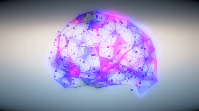 abstract ai brain neural network formed of neurons and connections in blue and purple colors - animazione biomedica video stock e b–roll