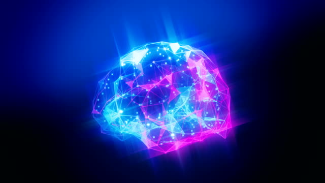 abstract ai brain neural network formed of neurons and connections in blue and purple colors - neuroscience stock videos & royalty-free footage