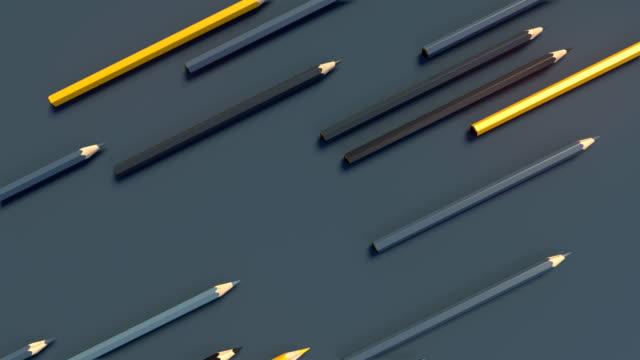 抽象的なアニメーションの構成。色鉛筆の斜めの動き。コンピューターは、ループ アニメーションを生成します。幾何学的なパターン。3 d レンダリング。4 k uhd - ペン点の映像素材/bロール