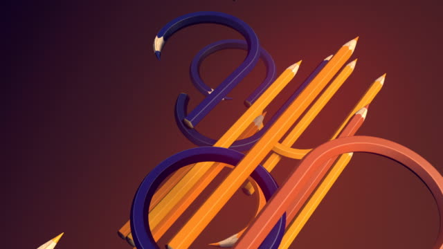 abstract animated composition. diagonal movement of curved colored pencils. computer generated loop animation. geometric pattern. 3d rendering. 4k uhd - multicolore video stock e b–roll