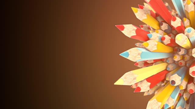 abstract animated composition of colored pencils surrounded by light mist. background template design. 3d rendering. hd resolution. - saturated colour stock videos & royalty-free footage