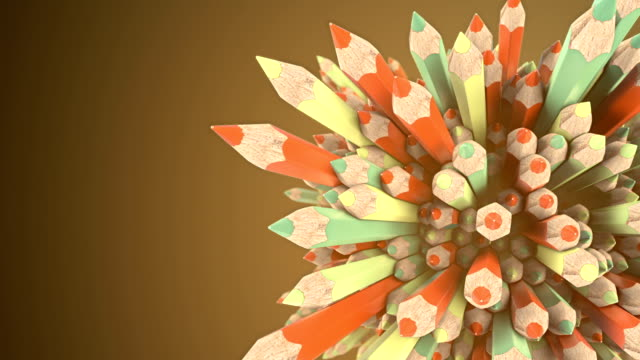 abstract animated composition of orange and green colored pencils surrounded by light mist. background template design. 3d rendering. hd resolution. - saturated colour stock videos & royalty-free footage