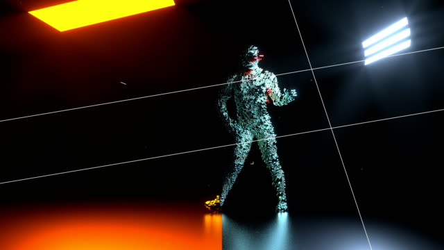 abstract animated particle character doing dance moves - arte, cultura e spettacolo video stock e b–roll