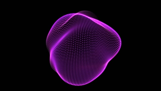 vídeos de stock e filmes b-roll de abstract animation nodes spherical ondulation - esfera