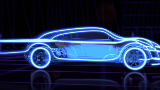 Abstract animation of a futuristic blue car in 4K UHD