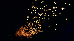 Abstract Background Bokeh Floating Sky Lantern Loi Krathong and Yi Peng Traditional Festival, Chiang Mai, Thailand