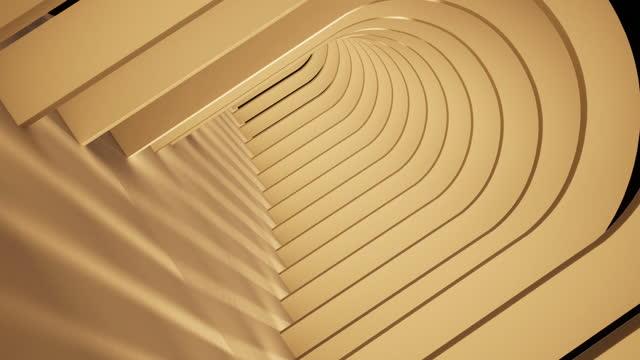 stockvideo's en b-roll-footage met abstracte achtergrond, eindeloze tunnel van houten bogen - architecture