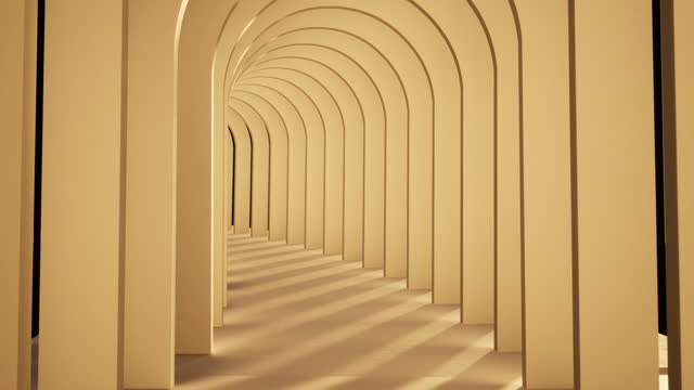 vídeos de stock e filmes b-roll de abstract background, endless tunnel of wooden arches - arco caraterística arquitetural