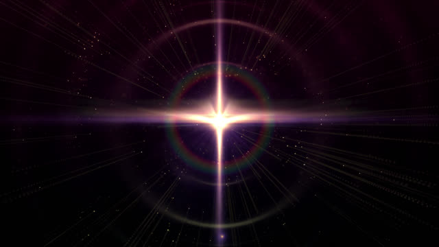 abstract background of a shiny star in the universe - a forma di croce video stock e b–roll
