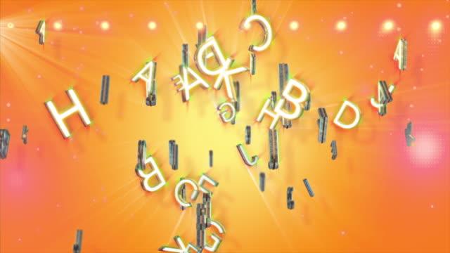 vídeos de stock, filmes e b-roll de abstract background of alphabet soup - sopa de letras