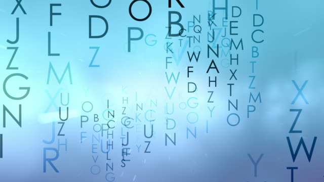 vídeos de stock, filmes e b-roll de abstract background of capital letters moving in the frame - sopa de letras