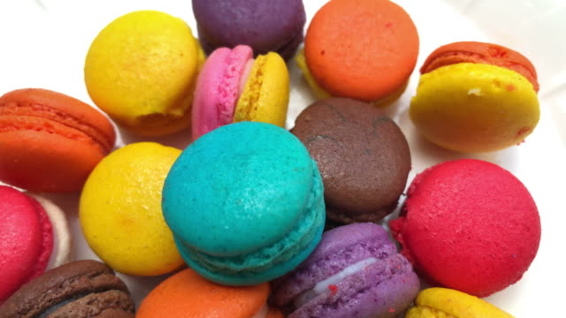 abstract background of colorful macaroon - macaroon stock videos and b-roll footage