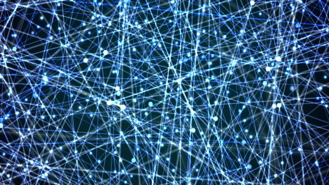 vídeos de stock, filmes e b-roll de fundo abstrato de pontos conectados no espaço 3d - equipamento de computador