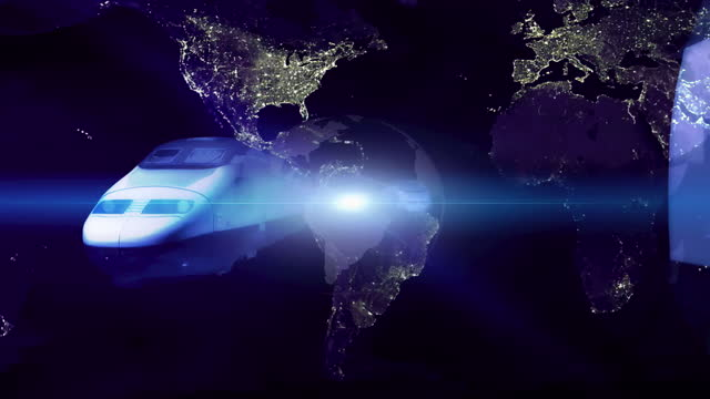 abstract background of fast trains and planet earth - abstract backgrounds stock videos & royalty-free footage