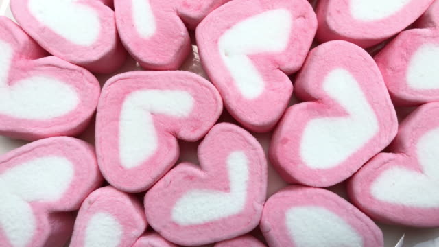 abstract background of pink marshmallow ,heart shape - marshmallow video stock e b–roll
