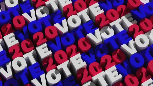 """abstract background of repeating """"vote 2020"""" signs painted in red, white and blue - politics abstract stock videos & royalty-free footage"""
