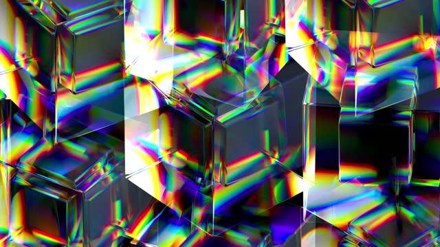 abstrakt bakgrund av transparenta glaskuber stående i raka rader och roterande - bright colour bildbanksvideor och videomaterial från bakom kulisserna
