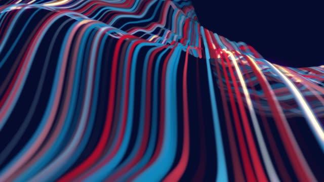 abstrakter hintergrund - wellen linien internet-fluss von big data - gestreift stock-videos und b-roll-filmmaterial