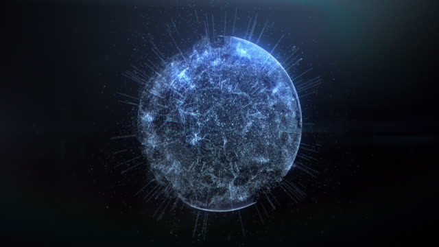 abstract background with connection dots. digital sphere - planet space stock videos & royalty-free footage