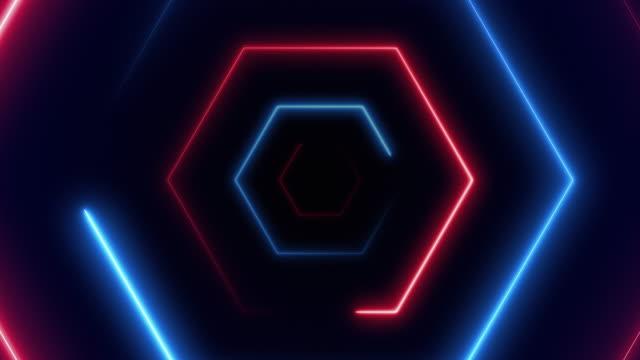 vídeos de stock e filmes b-roll de abstract background with fiber optic line glowing hexagons vj light. (loopable) - eletrónica