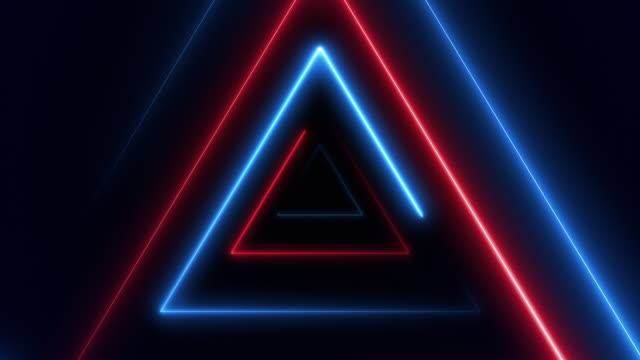 vídeos de stock e filmes b-roll de abstract background with fiber optic line glowing triangles vj light. (loopable) - eletrónica