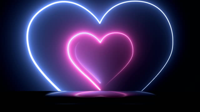 abstract background with neon heart shape. - loopable 4k - disco lights stock videos & royalty-free footage