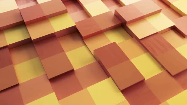 Abstrakter Hintergrund mit Oberflächenwürfeln. Nahtlose Schleife. Rotierende orange und gelbe Blöcke Hintergrund, nahtlose Schleife