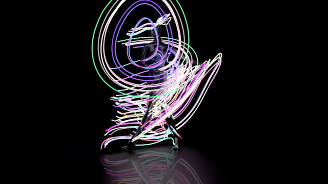 abstract ballet dancer with light beams - controluce video stock e b–roll