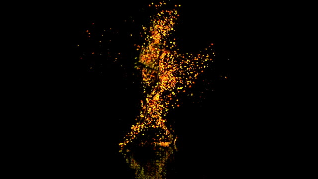 Abstract Ballet Dancer with orange particles