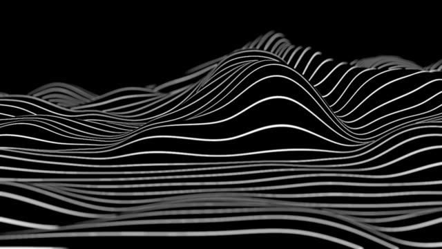 abstract black and white lines - wave pattern stock videos & royalty-free footage