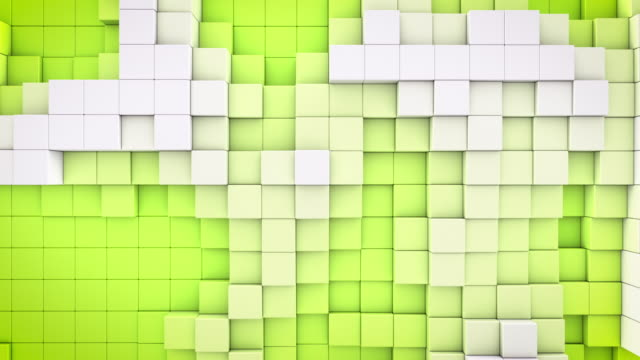 4k abstract blocks wall loop - front on green (with rf music track) - color block stock videos and b-roll footage